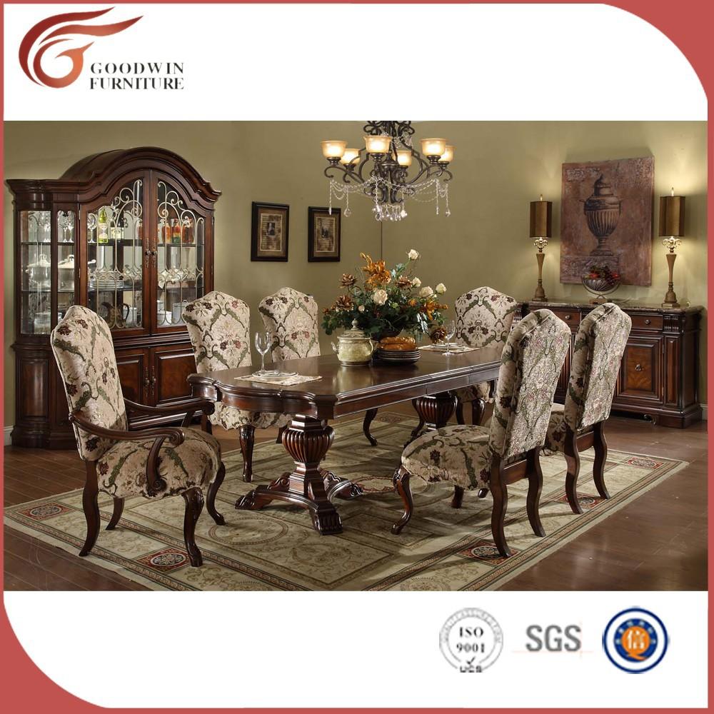 하이 엔드 프랑스어 페데스탈 나무 식당 테이블과 의자 세트 wa163