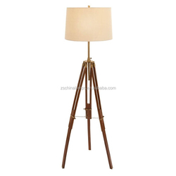 2016 beautiful for home for Itali hot sell America UL CUL natural wooden tripod floor lamp with beige lampshade furniture