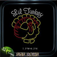 Thanksgiving turkey gobble rhinestone transfer hot fix strass motif