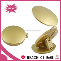 Round electric magnifying makekup mirror with custom logo / portable double side smart travelling mirror