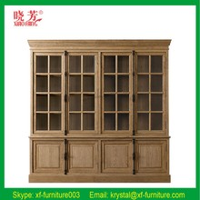 White oak wooden antique style wall bookcase designs