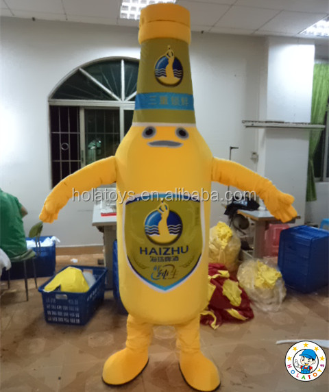 Garrafa de vinho amarelo feito sob encomenda traje / traje da mascote de pelúcia