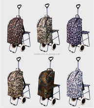 4 in 1 portable folding shopping trolley bag backpack with chair, cooler bag