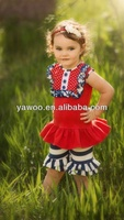 Fashion Girl's Wears Children's Party Wear Outfits Lovely Outfits For Girls Summer Clothes Sets With Stripes Girls Ruffle Pants