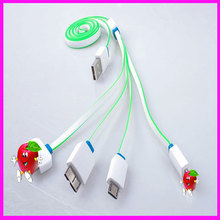Universal Portable Multi USB Charger Cable for iPhone4 for iPhone5 / 6 for Samsung HTC Xiaomi Huawei 4 in 1 Charge Cable