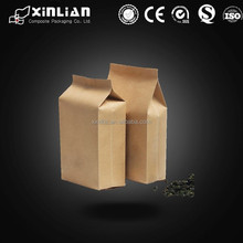 Kraft Paper Flat Bottom Coffee Bags Packaging, Box Pouch Coffee Bag with one-way degassing valve