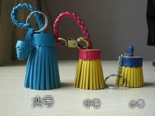high quality cow leather special tassel with plait holder for handbag and key