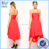 Yihao Summer slim sexy ladies clothing Contrast Color Dress Orange strapless Asymmetric hemline Cocktail dress
