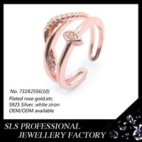 wholesale word charms rose gold plated rings 925 silver jewelry rings for ladies