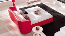 red leather bed ,merrage bed ,big headboard leather beds