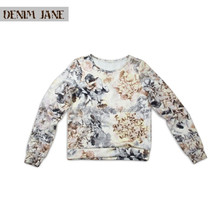 2015 new collection high quality women's scuba digital printing long sleeve top