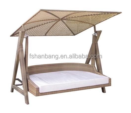 Outdoor Balcony Patio Garden All Weather Resin Rattan Wicker Double Hanging  Swing Chair