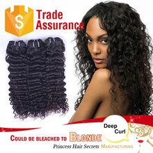 Top 6A grade quality unprocessed Brazilian deep curl brazilian human hair wet and wavy weave