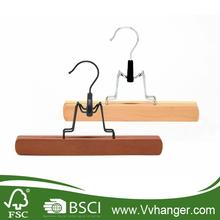 LH046 hangers wholesale/ Chrome hook premium pants/skirt hanger, wooden clothes hanger
