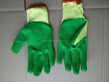 security and safety equipment green latex coated gloves