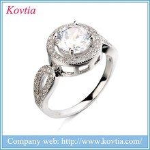 Eyelike Round Zircon Rings For Women Sliver Jewelry Cut Cubic Zirconia Diamond Engagement Platinum Ring