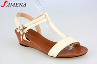 Latest style middle heel wedge sandals for women