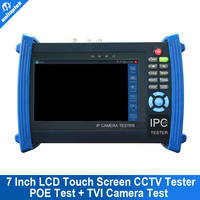 "HD TVI CCTV Tester 7"" IP CCTV Tester Monitor Analog Cameras PTZ Control Cable Scan POE Output"