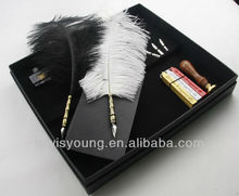 2014 Ostrich Feather Pen & Wax Seal Stamp & Notebook Calligraphy set