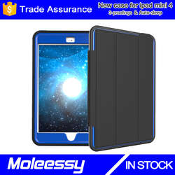 For iPad Mini Soft TPU Bumper Edge Smart Leather Case Stand Cover with Auto Sleep/Wake for Apple iPad Mini 4