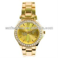 Newest model gold plated WTFletters dial Rhinestone japan quartz move alloy watch