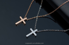 women's rose gold necklace cross titanium steel chain South Korea fashion jewelry gifts cheap bulk jewelry