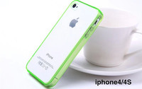 Transparent Clear Soft TPU Frame Bumpers + Acrylic Back Cover Case for iPhone 4 4S 4G