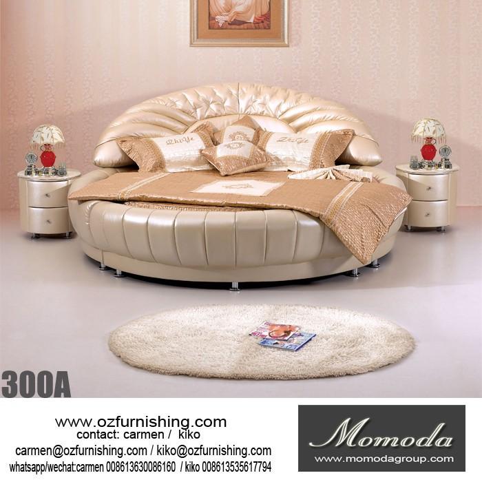 1403 현대 가죽 라운드 침대 호텔 뮤지컬 라운드 침대 스피커 및 ...