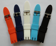 Europe hottest item sporty trendy design soft durable waterproof fancy silcone wrist watch bands for swatch