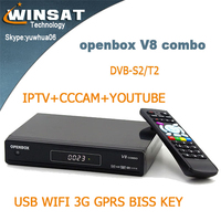 openbox V8 combo full hd1080p satellite receiver DVB-S2/T2 IPTV set top box porn video decoder with cccam cline account biss key