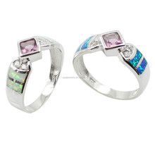 Hot Sale Pink CZ Setted Opal Inlay Genuine 925 Silver Fashion Ring