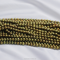 5mm AA off round unique brown green color freshwater pearl beads in bulk