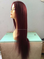 Large stock wholesale beauty girl color 99j malaysian human hair topper wig