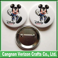 2015 High Quality New Design Promotional souvenir tinplate button badges