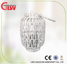 Beautiful white garden wicker lantern,wicker candle holders