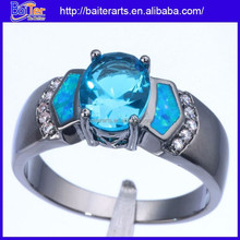 Hot ! Silver Opal Topaz And Blue Aquamarine And Diamond Ring Black Gold Filled Ring