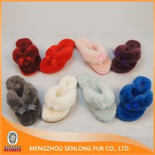 Popular Fuzzy Sheep Fur Lined Fashion Slippers for girls