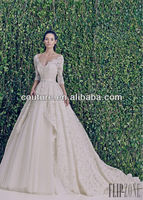 2014 boda Elegant V neck half sleeve floor length A line lace Ball Gown fat size girls ZH007 wedding gowns for fat bride