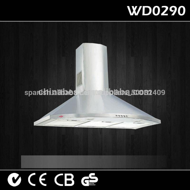 2014 venta caliente cocina chimenea de pared montado en la campana de extracción wd0290