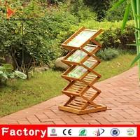 Floor standing a5 acrylic shelf zigzag portable bamboo A4 brochure holder