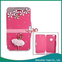 New Rhinestoned Magnetic Clasp Cute PU Leather and PC Protective Case for iPhone 6 Red