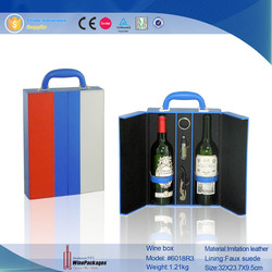 Square Portable PU Leather Wine Cardboard Carrier