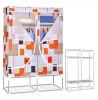 Garment Rack Home Fabric Bedroom Storage Wardrobe Heavy Duty NEW Double Color Wardrobe