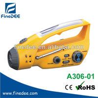 A306-01 Radio Charging cellphone super hand crank dynamo generator flashlight