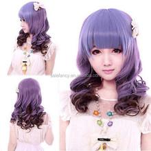 Hot Anime Night Club Medium Wavy Hair Girl Lolita Cosplay Party Mixed Wig Purple QPWG-2187