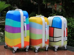Colorful Striped Children Hard Shell PC Spinner Travel Luggage