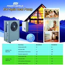 Never Freezing Excellent BTU Split EVI Air Source Heat Pump Air to Water Heater for Living Hot Water and Home Heating
