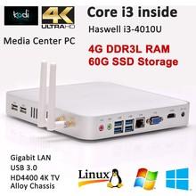 Intel atom mini pc intel core i3 haswell 4010U 4G RAM 60G SSD windows7/8 linux ubuntu mini pc