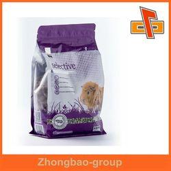 Professional design colorful edge gusset bag, square bottom clear plastic bag, bottom gusset bag for packing pet food grade