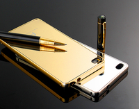 2015 new arrival hot selling Aluminium luxurious chrome mirror case with metal bumper mobile phone cases for huangwei p8